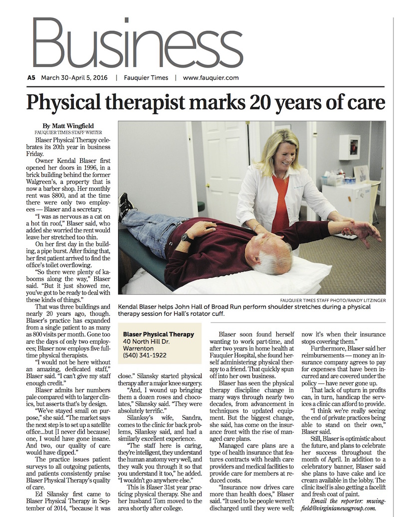 Article on physical therapy - Blaser Physical Therapy Celebrates 20 Years In Business